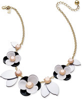 Kate Spade Gold-Tone Pink Stone Floral Necklace