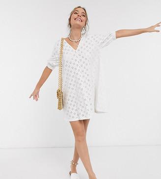ASOS DESIGN Petite broderie puff sleeve v front mini swing dress in white