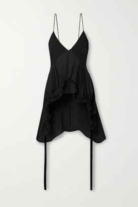 KHAITE Lolla Asymmetric Ruched Silk-georgette Top - Black