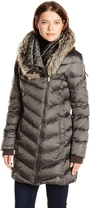 French Connection Outerwear Women's Down Coat with Faux Fur Hood