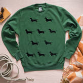 Art Disco Sausage Dog Green Unisex Sweatshirt