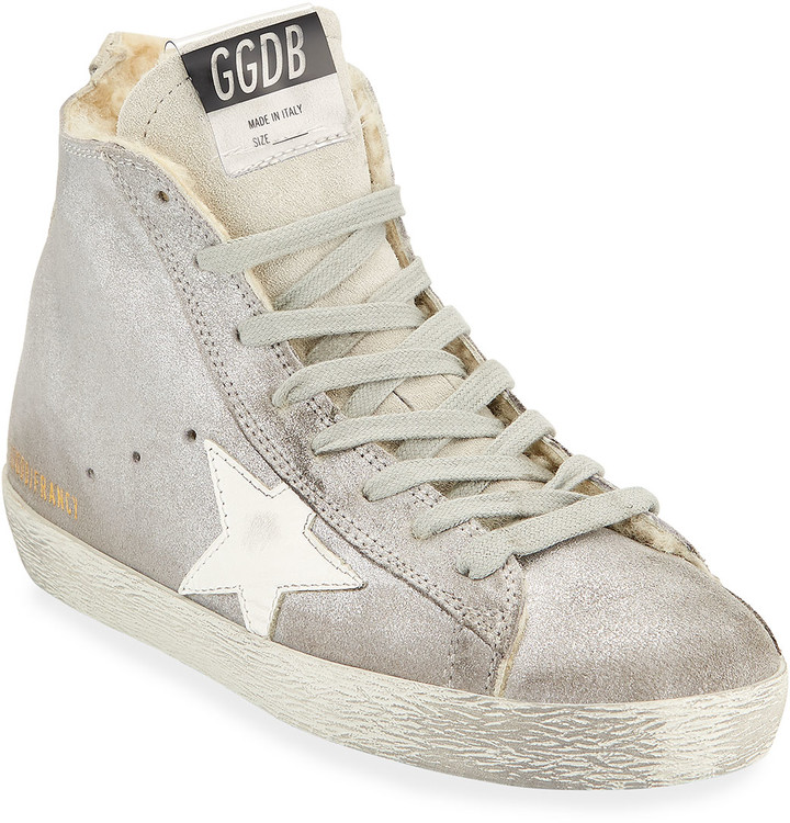 Golden Goose Francy Metallic Leather Star High-Top Sneakers with Fur