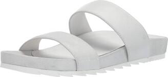 J/Slides Women's Edie Flat Sandal Silver/Metallic 9 Medium US
