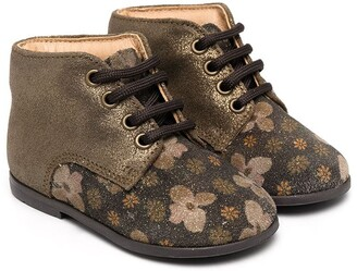 Pépé Metallic Floral Print Boots