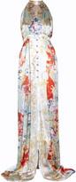 Balmain Printed silk-satin maxi dress