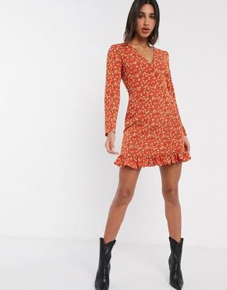 Fashion Union mini wrap dress in ditsy floral
