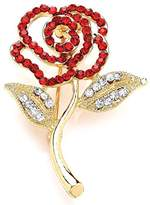 Jodie Rose Red and Clear Crystal Gold Rose Brooch