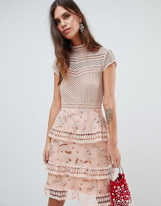 Y.A.S dress with tiered lace detailed mini skirt in pink