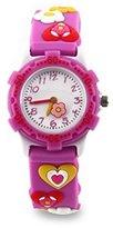 Jewtme Kids' JW0037 Heart-shaped Pattern Plastic Shell Silicone Strap Cartoon Watch Purple