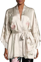 Josie Natori Lola Floral-Embroidered Wrap Robe