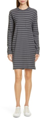 ATM Anthony Thomas Melillo Striped Long Sleeve Pique T-Shirt Dress