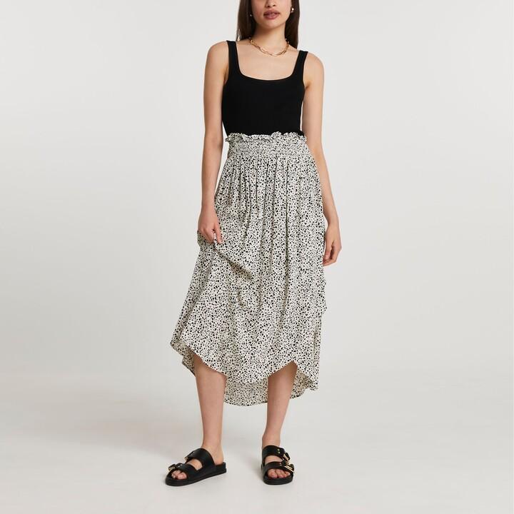 Thumbnail for your product : River Island Womens Cream shirred waist wrap midi skirt