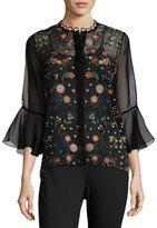 Elie Tahari Rienna Bell-Sleeve Embroidered Sheer Blouse, Black