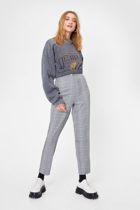 Nasty Gal Womens Handle the Houndstooth Tapered Pants - Grey