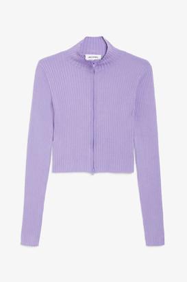Monki Ribbed knit zip cardigan