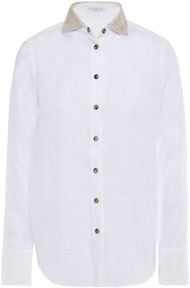 Brunello Cucinelli Sequin And Bead-embellished Linen Shirt