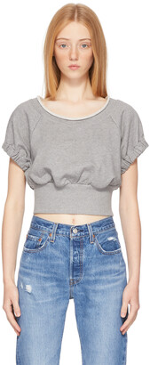 3.1 Phillip Lim Grey Shirred Short Sleeve Sweatshirt