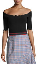 Milly Scalloped-Trim Bateau-Neck Top