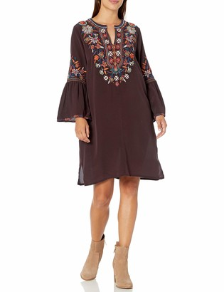 Johnny Was 3J Workshop Women's Silk Flare Sleeve Tunic Dress with Embroidery