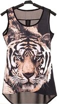 CA Mode Women Tiger Head Sleeveless Vest Tank Top Shirt Blouse Animal Asymmetric