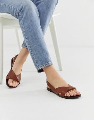 Vagabond tia tan leather flat sandals