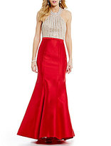 Xscape Evenings Long Arcadia Beaded Halter Mermaid Gown