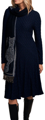 Blue Illusion Panelled Jersey Dress