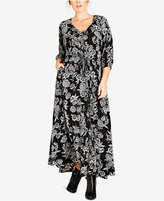 City Chic Trendy Plus Size Bloomsbury Printed Maxi Dress