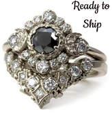 Etsy Ready to Ship Size 6-8 - Black and White Diamond Engagement Ring Set -Diamond Stardust Chevron Stack