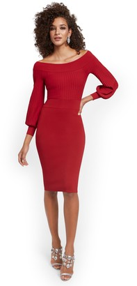 New York & Co. Off-The-Shoulder Sweater Sheath Dress