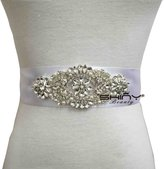 ShinyBeauty Rhinestone and pearl beaded applique for bridal sash,wedding garters