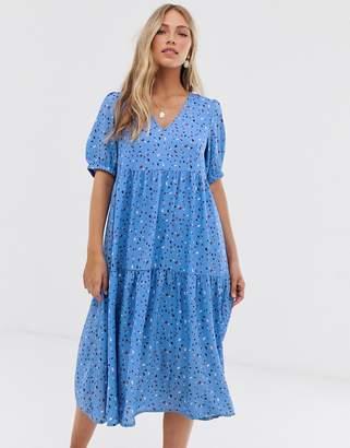 Vero Moda Aware smudge print puff sleeve maxi smock dress-Blue