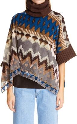 Sacai Nordic Opal Velvet Burnout & Wool Pullover