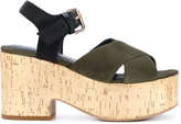 Strategia crossover platform sandals - women - Leather/Suede/Viscose/rubber - 36