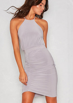 Missy Empire Serin Grey Slinky Ruched Backless Bodycon Dress