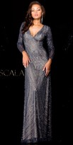 Scala Long Sleeve V-neck Beaded Plus Size Dress