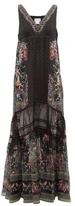 Camilla Restless Nights Lace-paneled Silk Maxi Dress - Black Multi