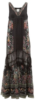 Camilla Restless Nights Lace-paneled Silk Maxi Dress - Womens - Black Multi