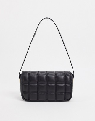 ASOS DESIGN quilted shoulder bag with hardware in black