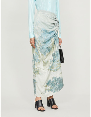 Selfridges Act N1 Abstract-print high-waist crepe midi skirt