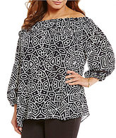 Gibson & Latimer Plus Geo Print Off-the-Shoulder 3/4 Sleeve Blouse