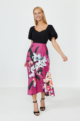 Coast Solid Bodice Printed Skirt Midi Dress