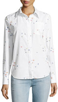 Milly Surfer-Print Coupé; Button-Down Shirt, White