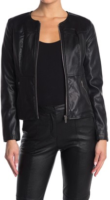 Catherine Malandrino Collarless Zip Front Faux Leather Jacket (Petite)