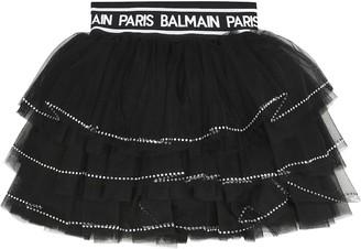 Balmain Kids Embellished tulle skirt