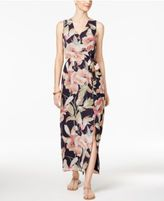 Nine West Printed Self-Tie Maxi Dress
