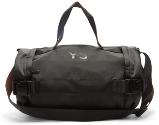 Y-3 Logo-print Buckled-strap Shell Holdall - Black