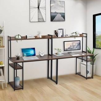 Latitude Run Demarquez Desk with Hutch Color (Top/Frame): Brown/Black
