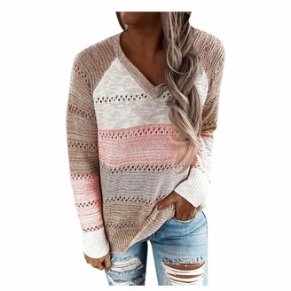 Gofodn Ladies Knitted Sweater for Women Tops Casual Plus Size Long Sleeve V-Neck Patchwork Pullover Brown