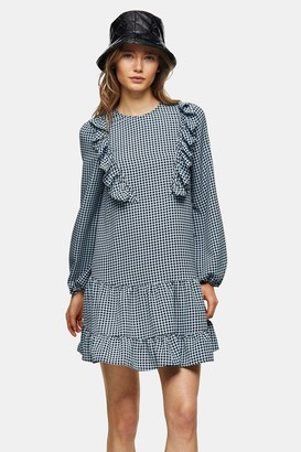 Topshop Womens Blue Ruffle Chuck On Mini Dress - Blue